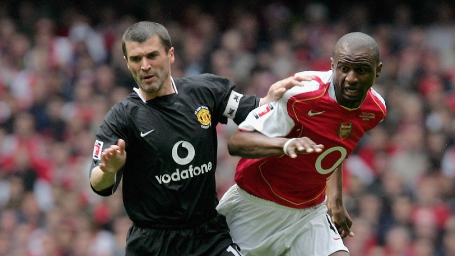 CARDIFF, WALES - MAY 21: Roy Keane of Manchester United clashes with Patrick Vieira of Arsenal during the FA Cup Final match between Arsenal and Manchester United at the Millennium Stadium on May 21 2005 in Cardiff, Wales. (Photo by John Peters/Manchester United via Getty Images)